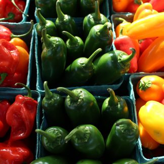 green yellow and red bell peppers