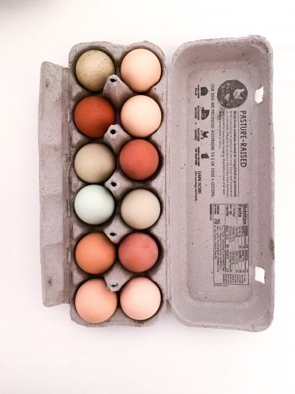 brown eggs on gray tray